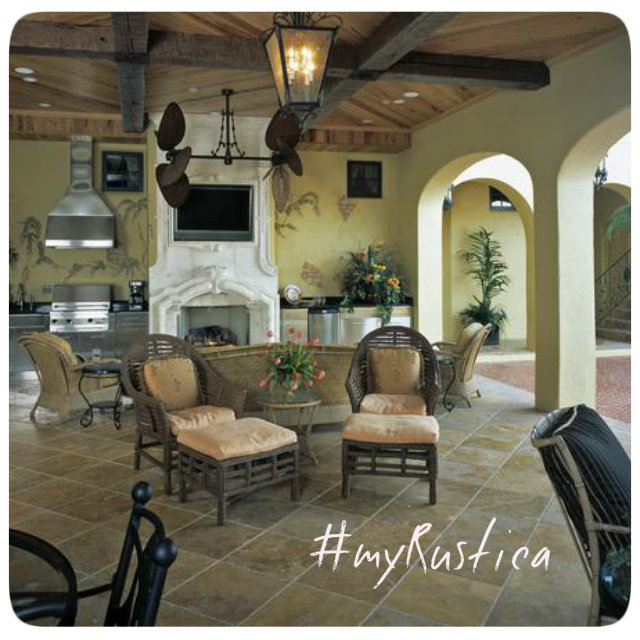 outdoor living furnishings including hammocks, heaters and rustic patio furniture